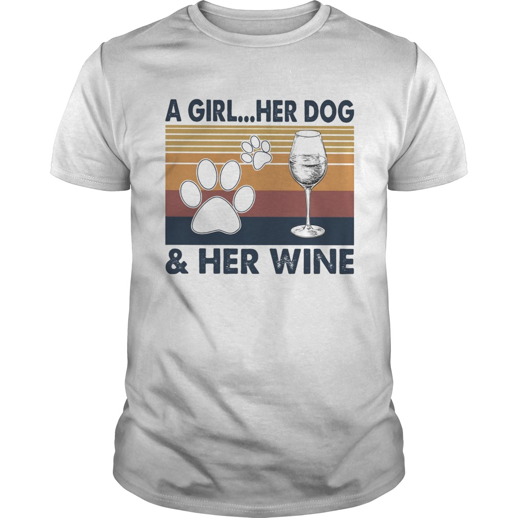 A Girl Her Dog And Her Wine Footprint Vintage Retro Unisex