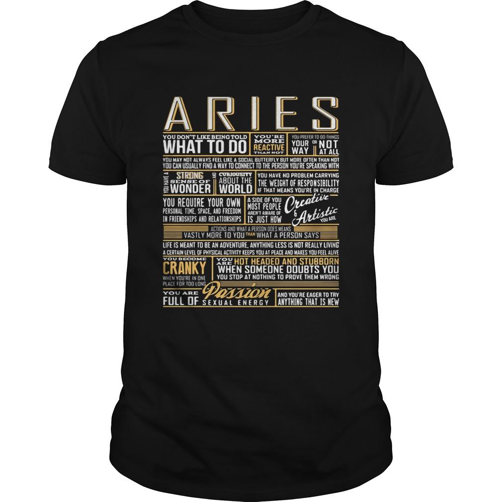 Aries What To Do Wonder World Cranky Paddion  Unisex