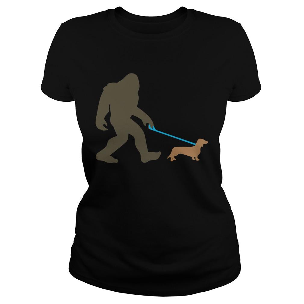 Bigfoot Walking Dachshund Sasquatch Doxie Dog  Classic Ladies