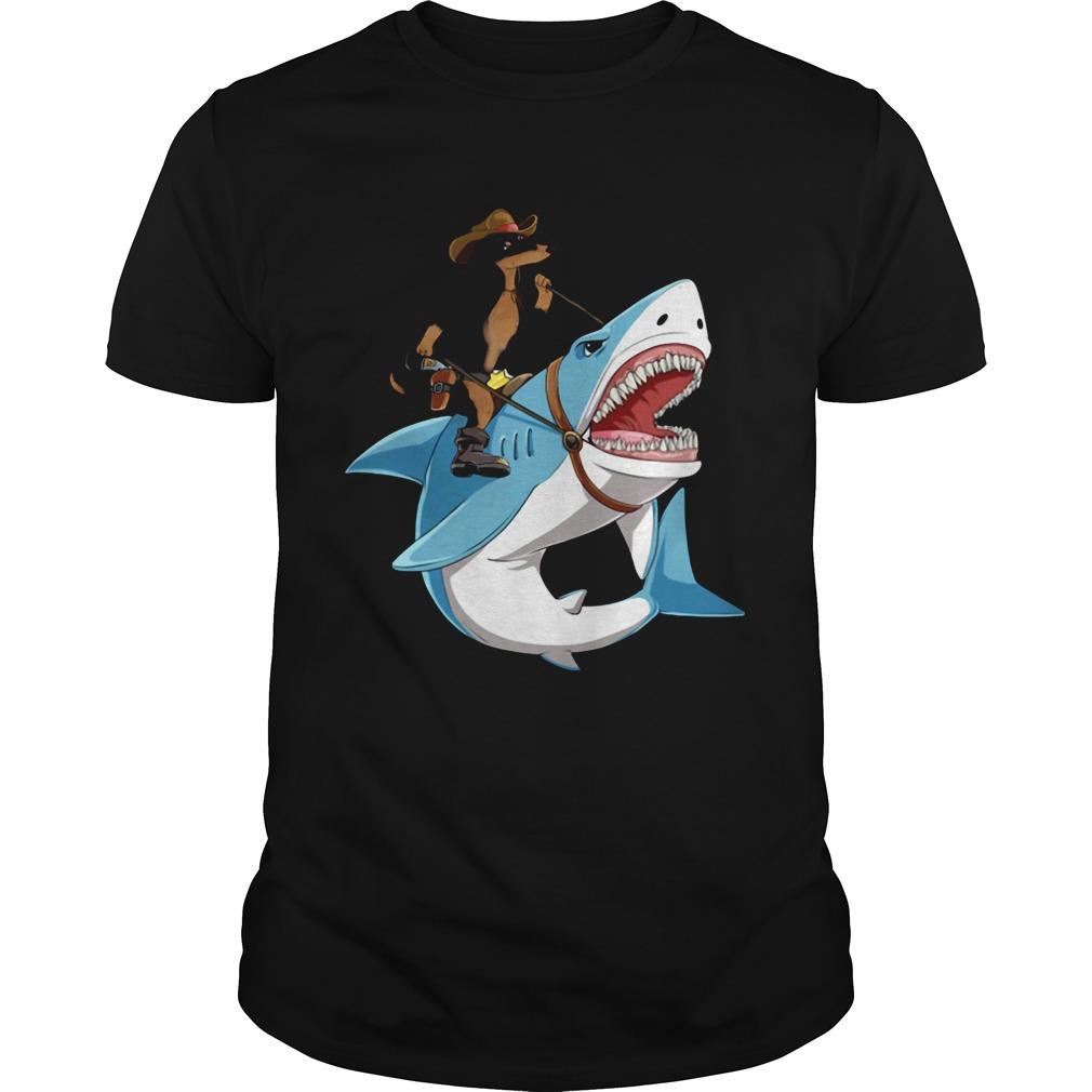 Dog cowboys riding shark  Unisex