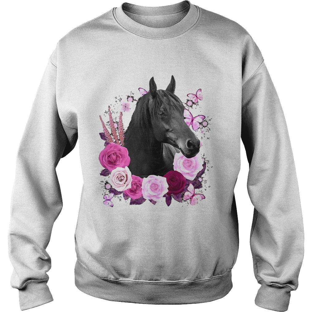 Horse Black Rose Butterfly  Sweatshirt