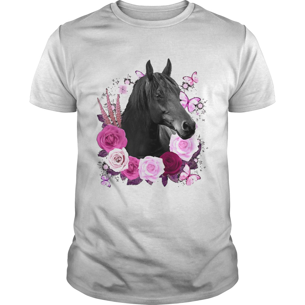 Horse Black Rose Butterfly  Unisex