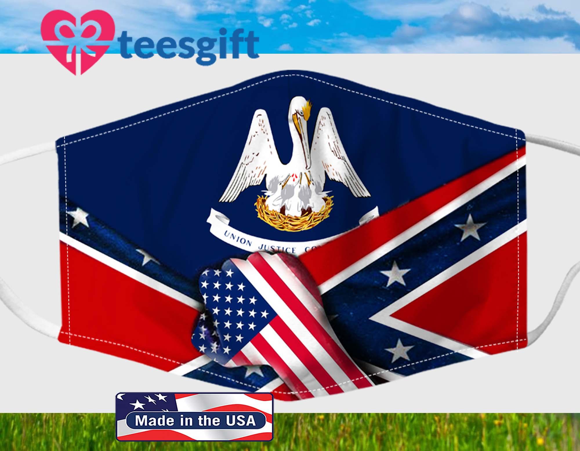 Louisiana Confederate Flag Fabric Face Mask