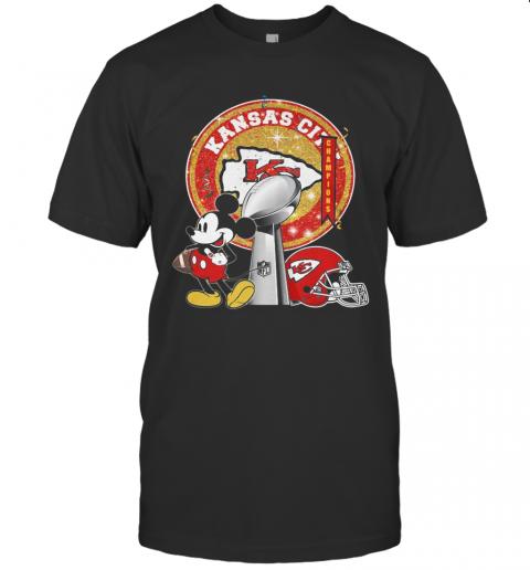 Mickey Mouse Kansas City Chiefs Champions Super Liv Bowl Football T-Shirt Classic Men's T-shirt