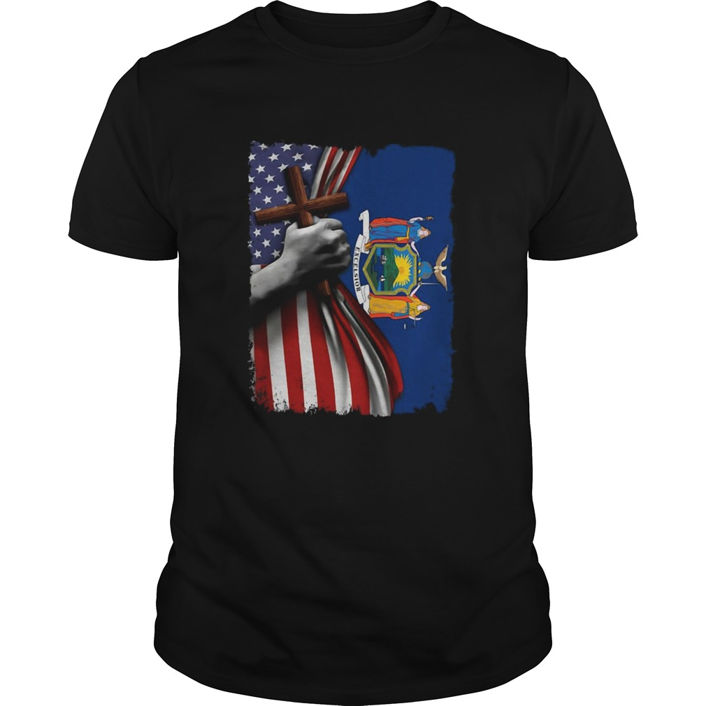 New york american flag cross happy independence day  Unisex