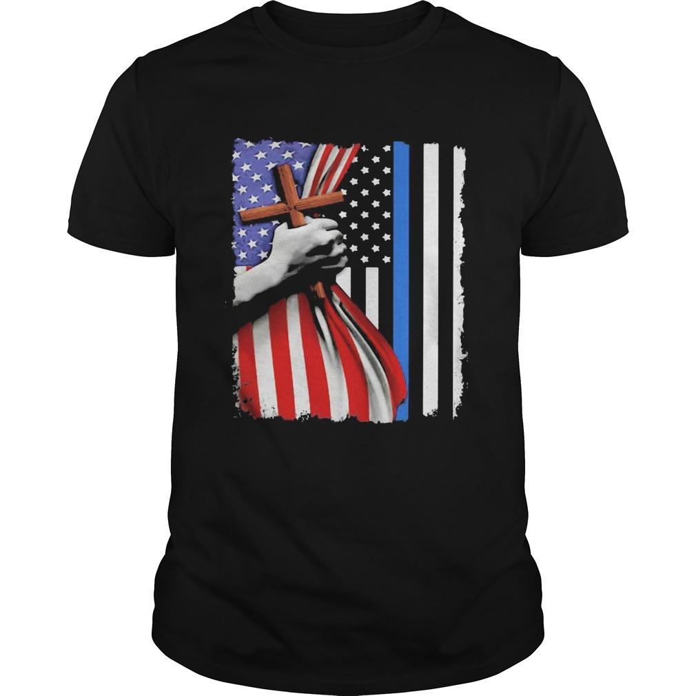 Open American flag hand cross  Unisex