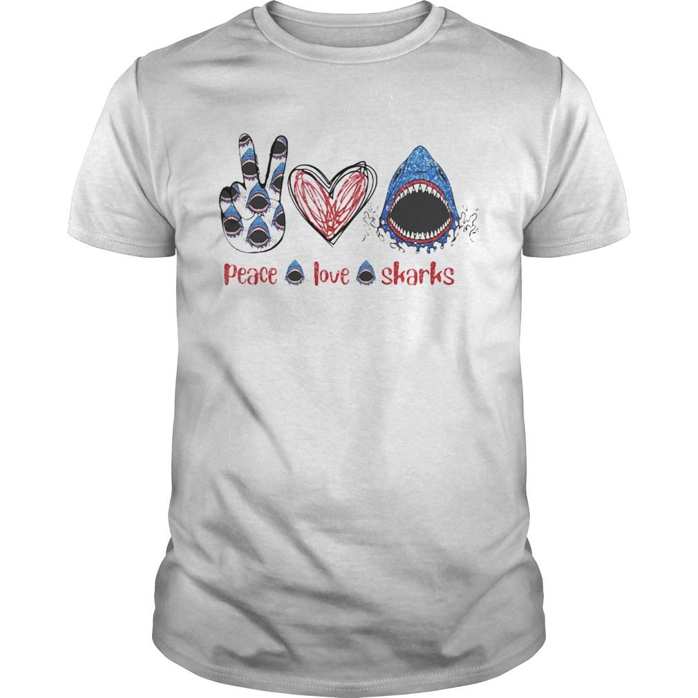 Peace Love Sharks Hippie Heart Sharks  Unisex