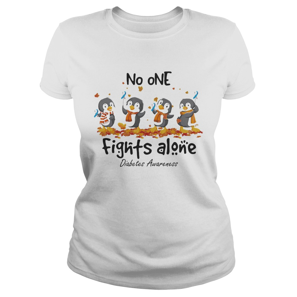 Penguins no one fights alone diabetes awareness  Classic Ladies