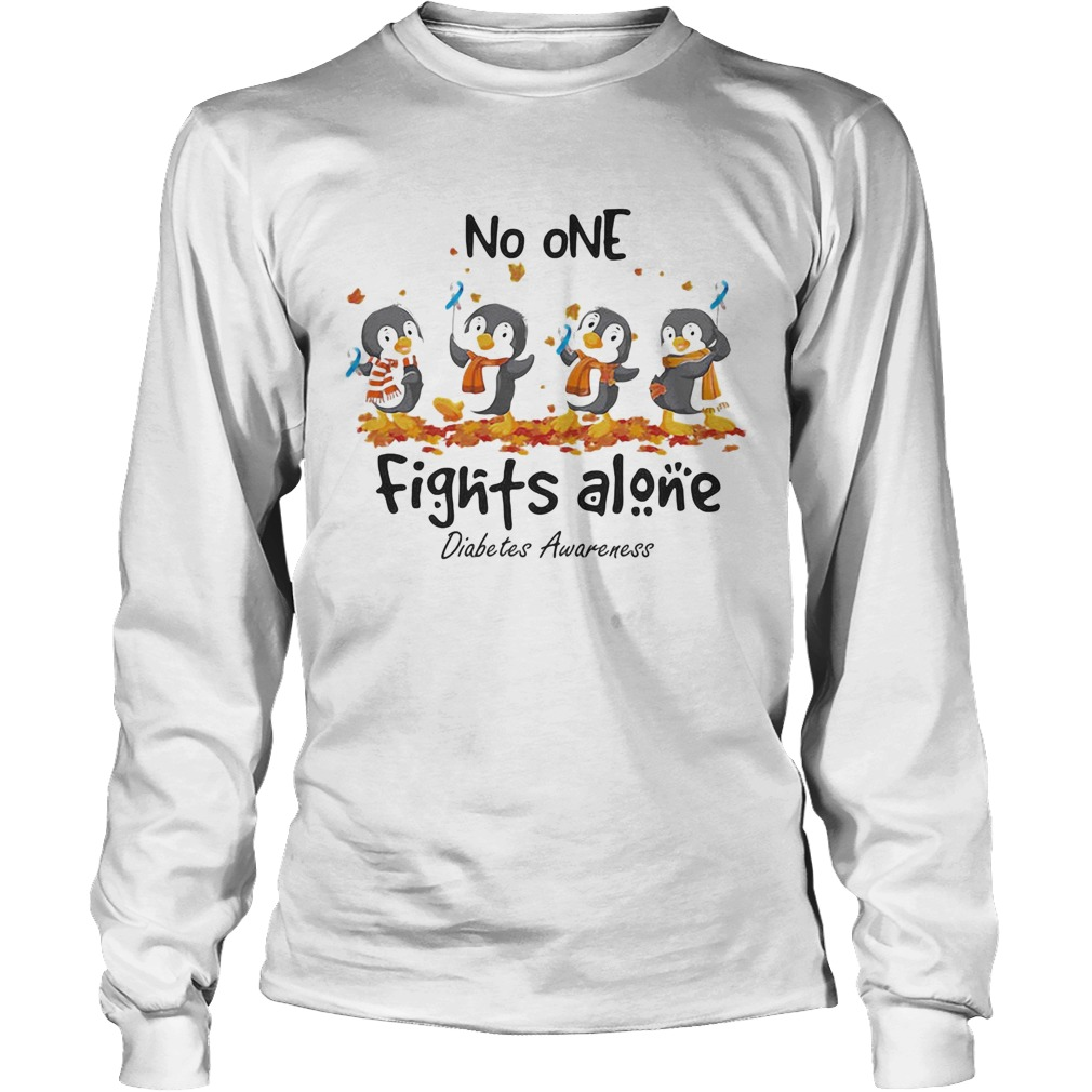 Penguins no one fights alone diabetes awareness  Long Sleeve