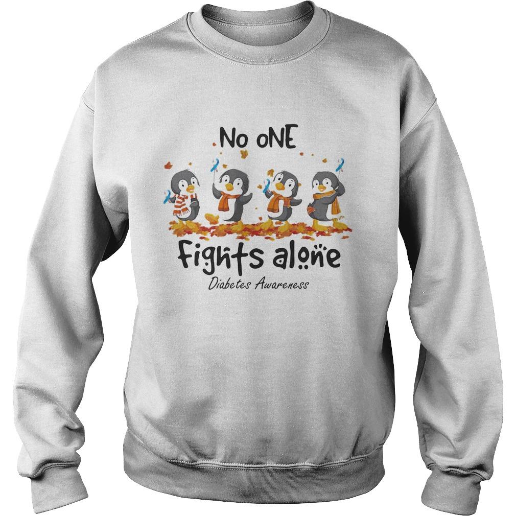 Penguins no one fights alone diabetes awareness  Sweatshirt