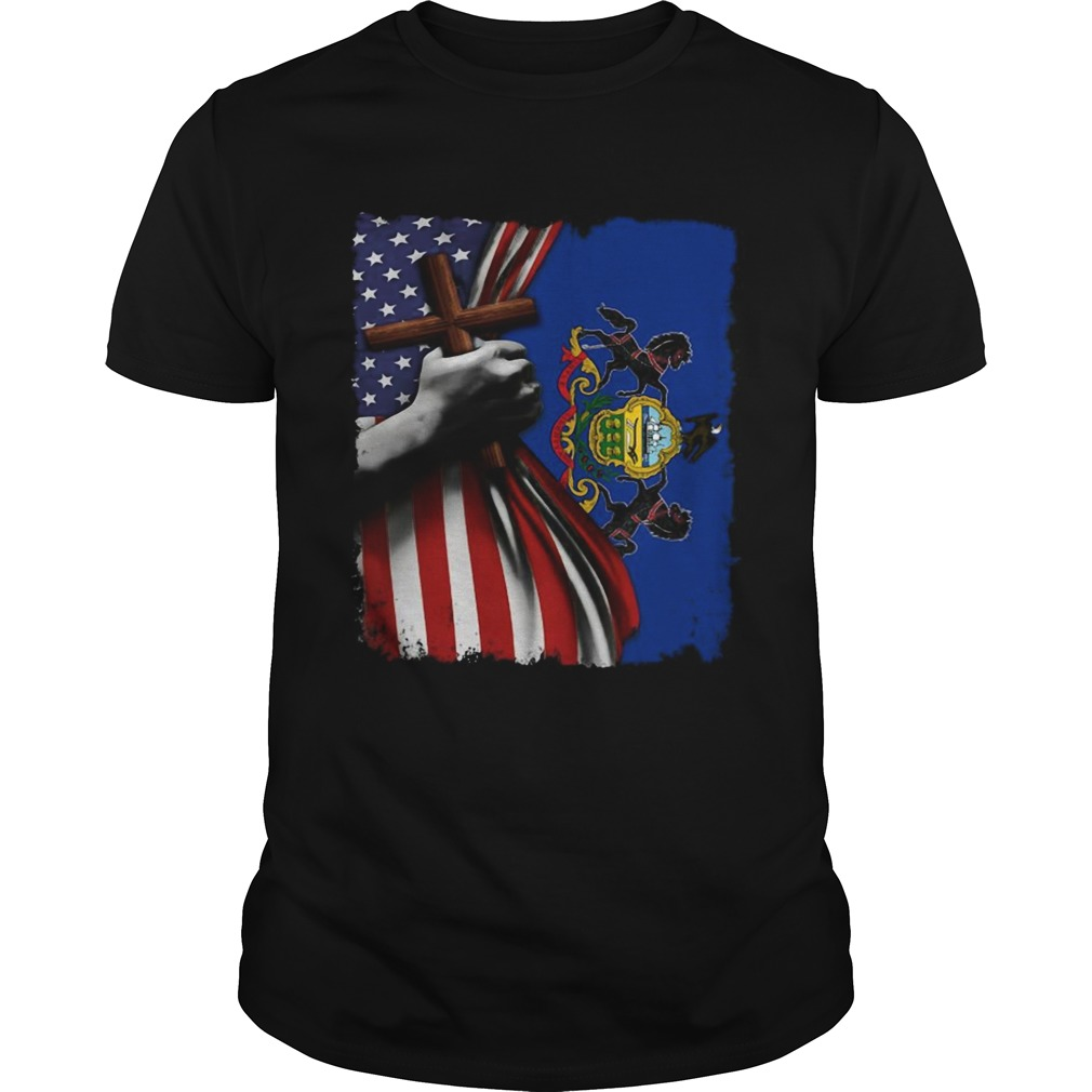 Pennsylvania american flag cross happy independence day  Unisex
