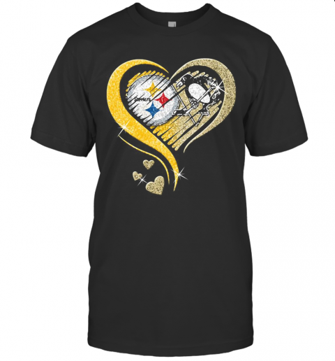 Pittsburgh Steelers And Pittsburgh Penguins Hearts Diamond T-Shirt Classic Men's T-shirt