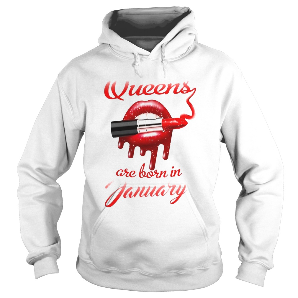 Queen Are Born In January Lips And Lipstick  Hoodie