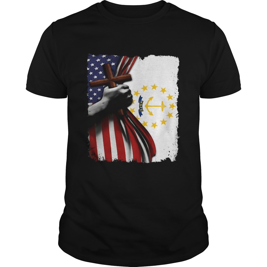Rhode island american flag cross happy independence day  Unisex