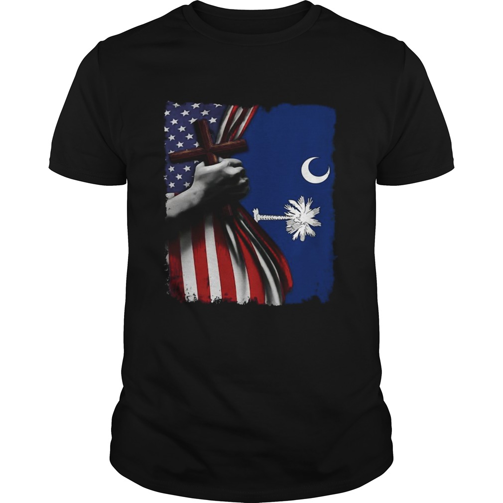 South carolina american flag cross happy independence day  Unisex