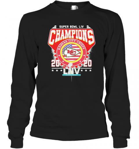 Super Bowl Liv Champions Kansas City Chiefs 2020 American Flag Independence Day T-Shirt Long Sleeved T-shirt