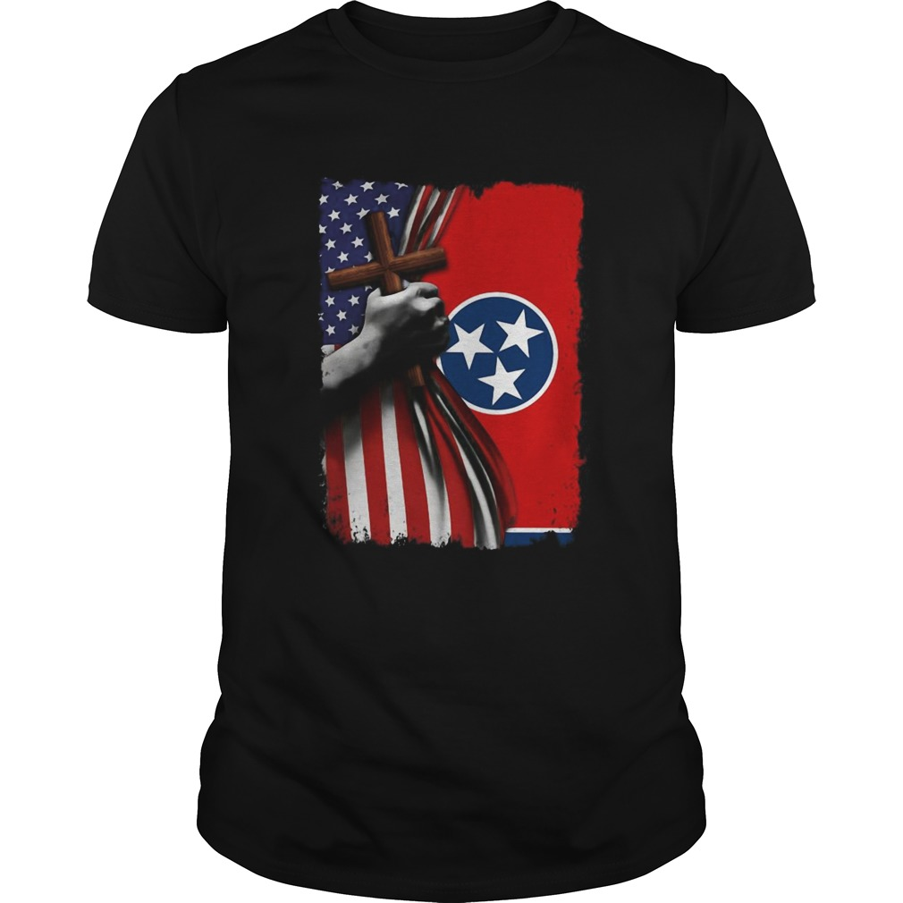 Tennessee american flag cross happy independence day  Unisex