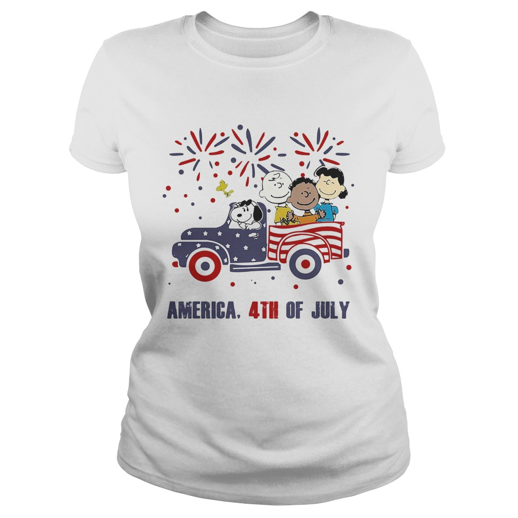 The peanuts characters driving car fire america 4th of july independence day  Classic Ladies