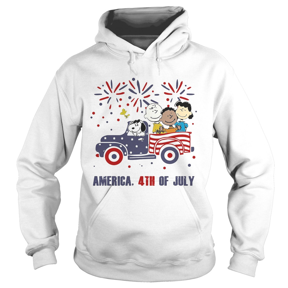 The peanuts characters driving car fire america 4th of july independence day  Hoodie