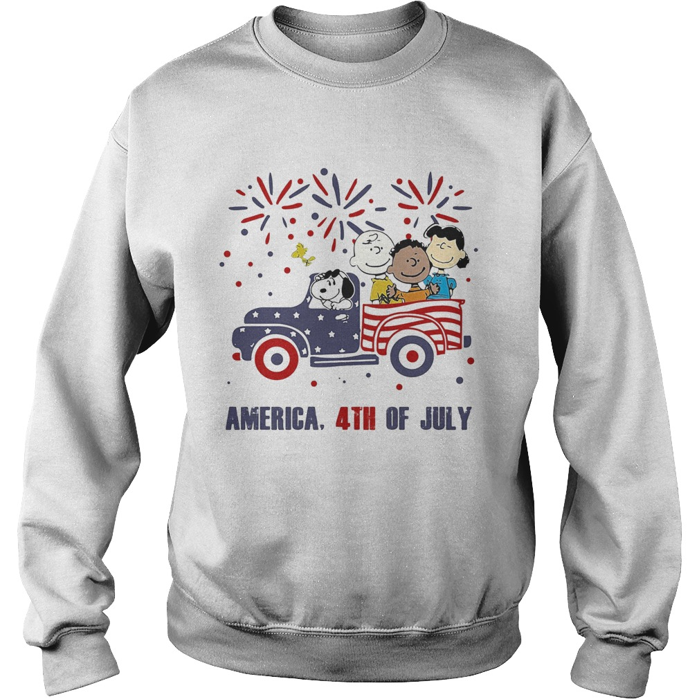 The peanuts characters driving car fire america 4th of july independence day  Sweatshirt