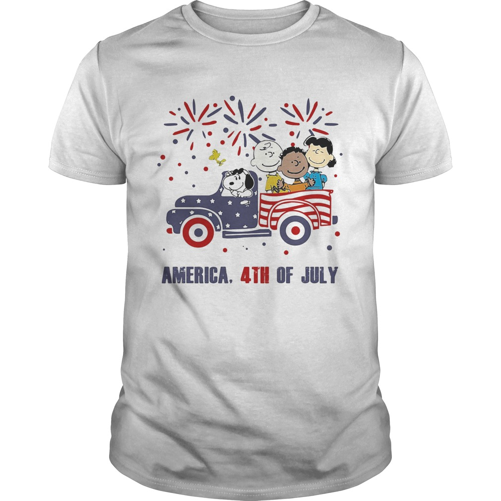 The peanuts characters driving car fire america 4th of july independence day  Unisex