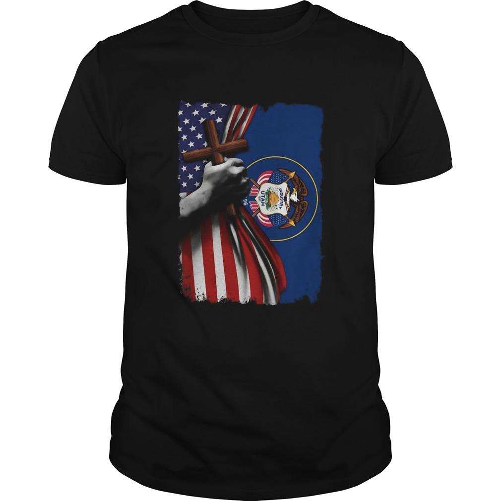 Utah american flag cross happy independence day  Unisex