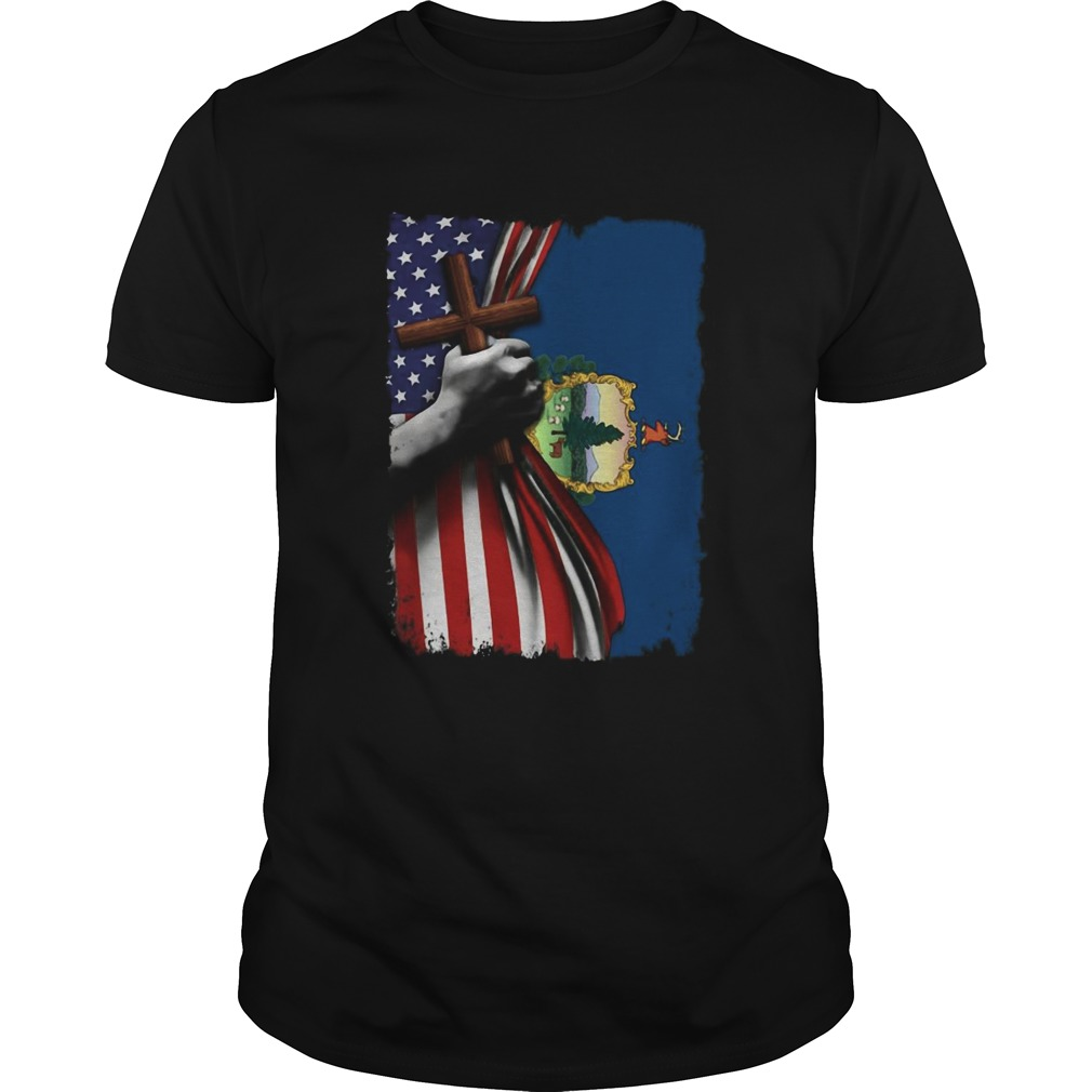 Vermont american flag cross happy independence day  Unisex