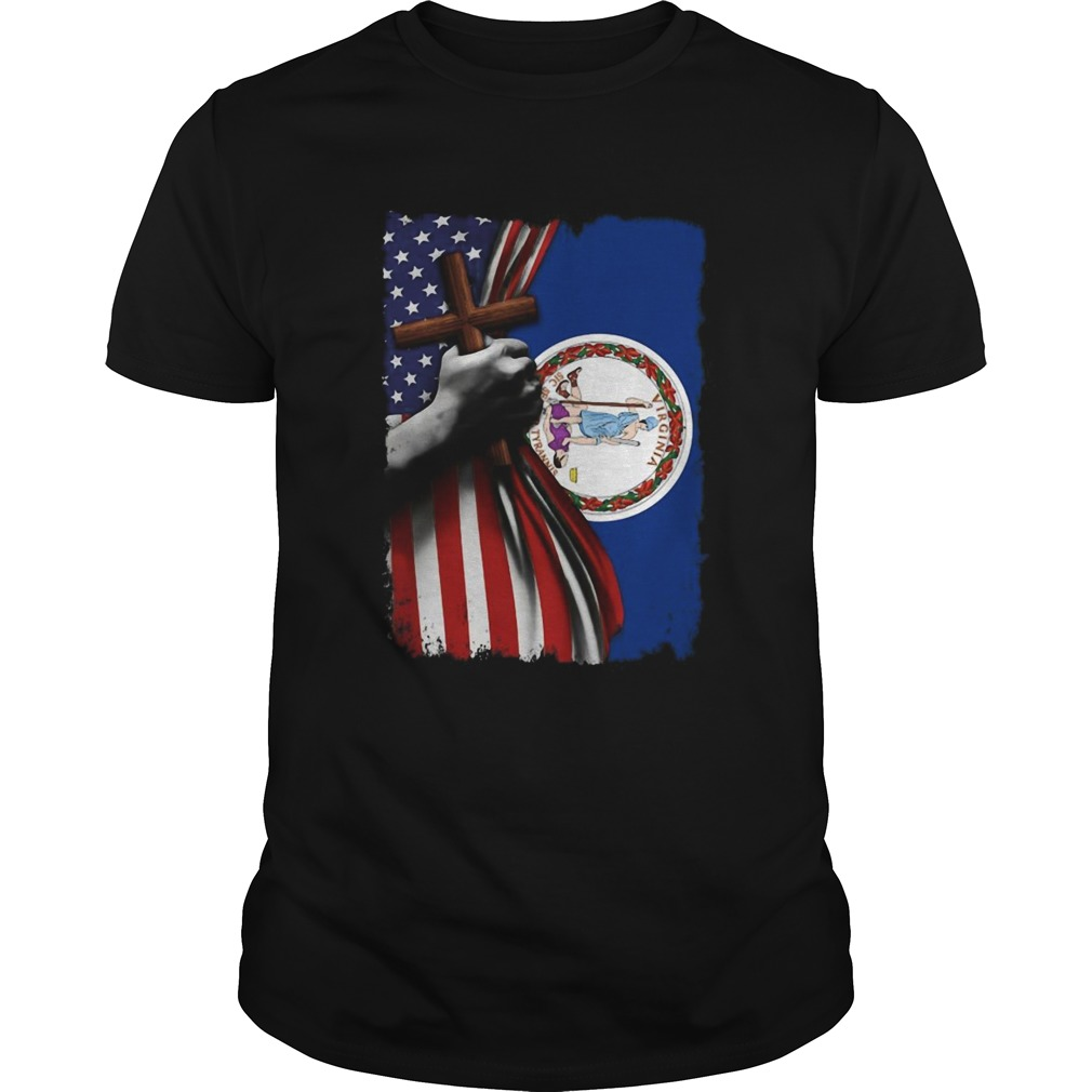 Virginia american flag cross happy independence day  Unisex