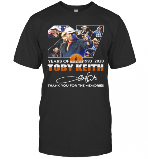 27 Years Of Toby Keith 1993 2020 Thank You For The Memories Signature T-Shirt Classic Men's T-shirt