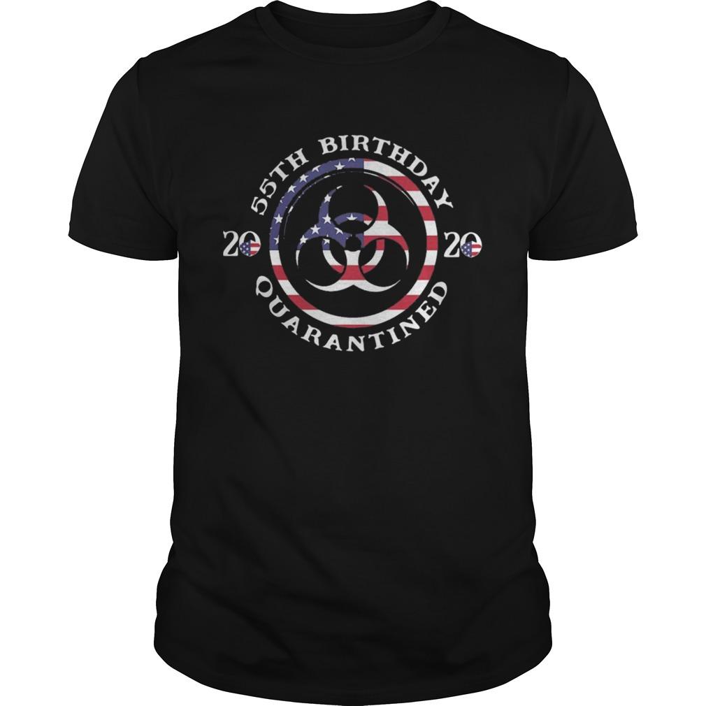 55th Birthday 2020 Quarantined American Flag  Unisex