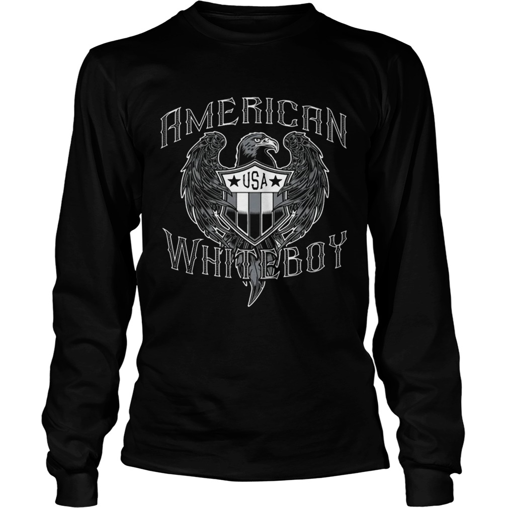American White Boy Eagle Flag Shield Usa  Long Sleeve