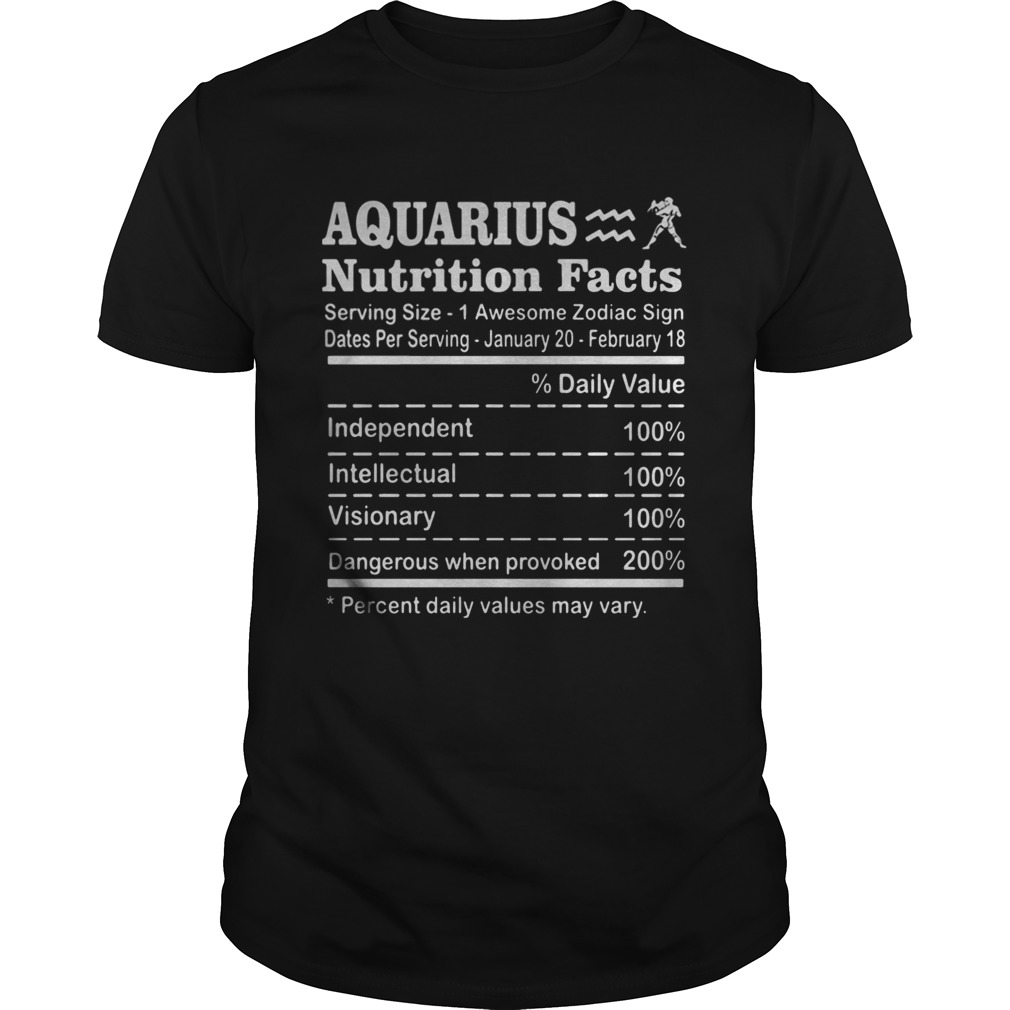 Aquarius Nutrition Facts Serving Size 1 Awesome Zodiac Sign Dates Per Serving January 20 February 1 Unisex