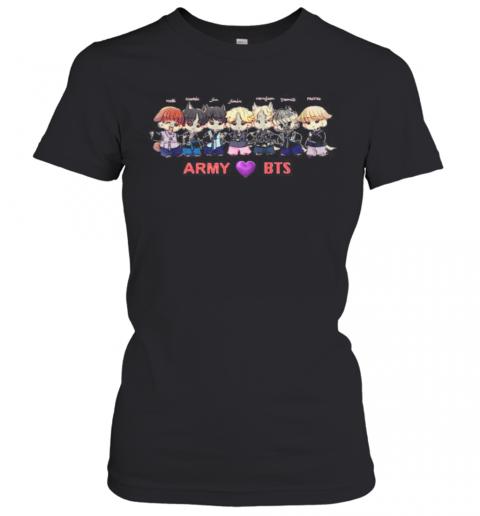 Army Bts Band Members Chibi Heart T-Shirt Classic Women's T-shirt