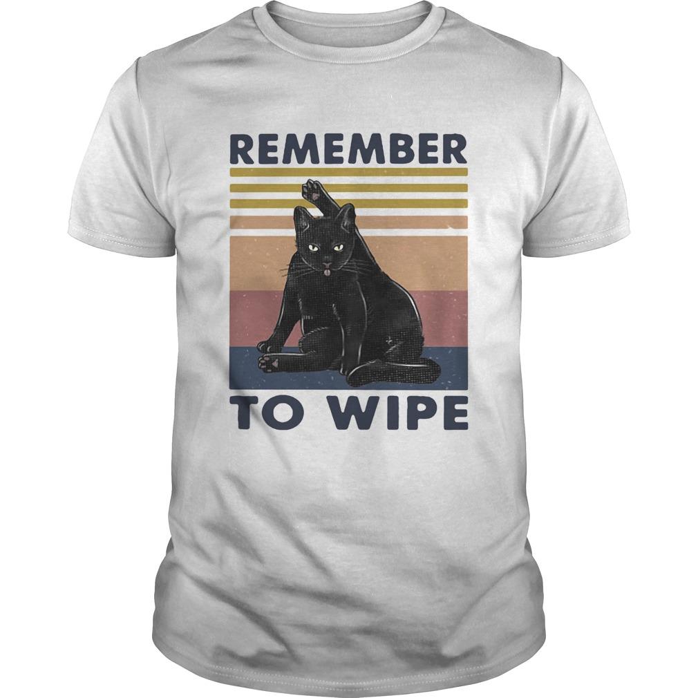 Black Cat Remember To Wipe Vintage Retro  Unisex