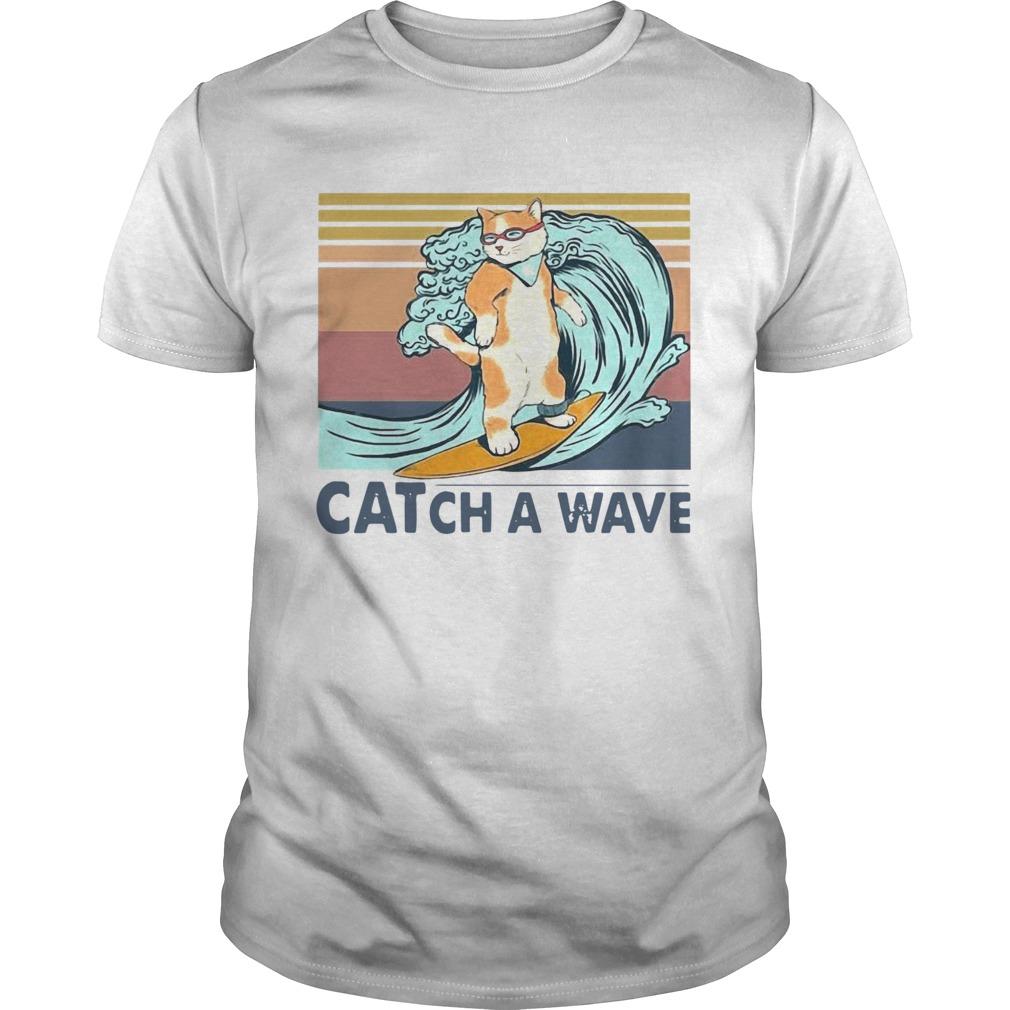 Cat Surfing Catch A Wave Vintage  Unisex