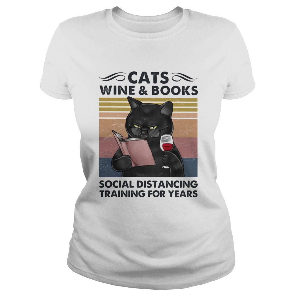 Cats Wine And Books Social Distancing Training For Years  Classic Ladies