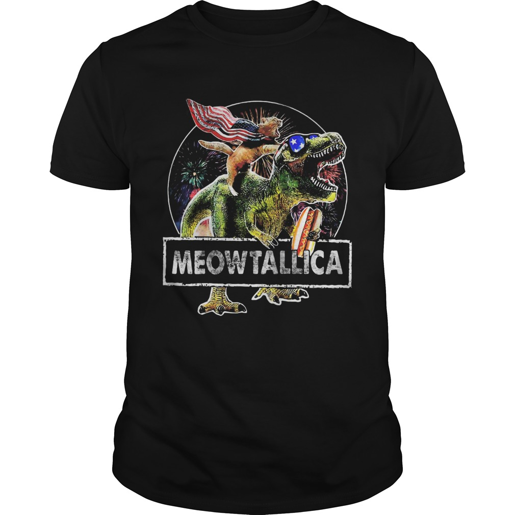 Dinosaur and cat meowtallica american flag happy independence day  Unisex