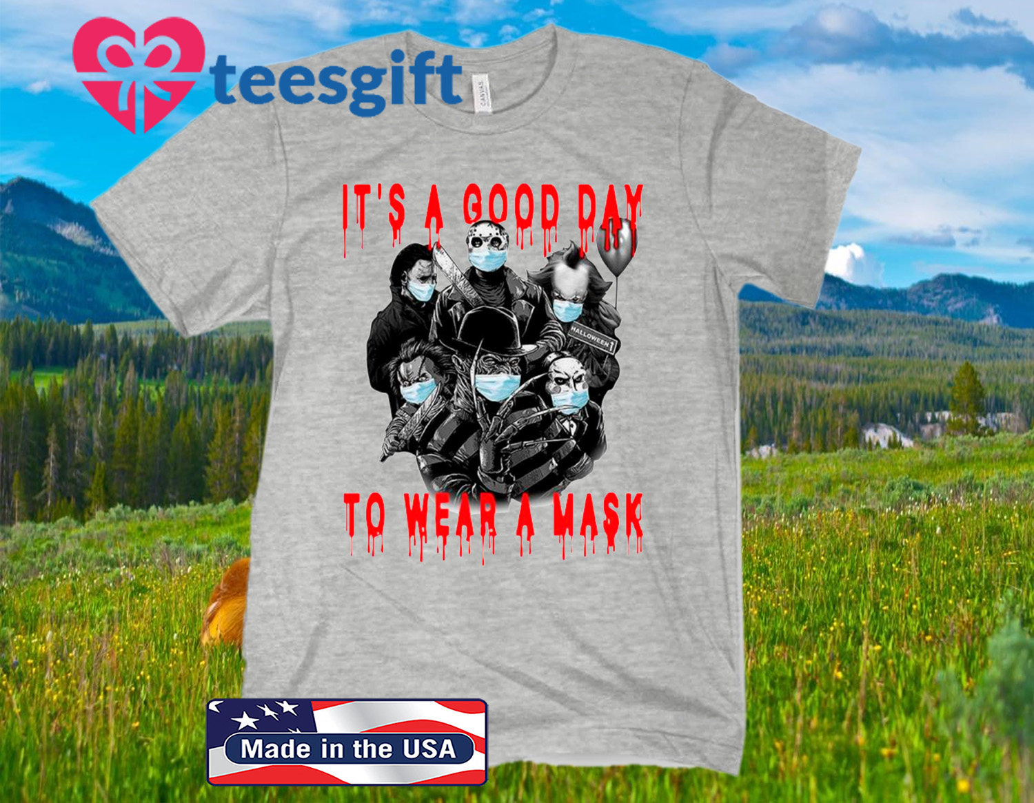 Halloween It's A Good Day To Wear A Mask Halloween Friends Horror Squad Movie Killers Wear Mask Classic T-Shirt