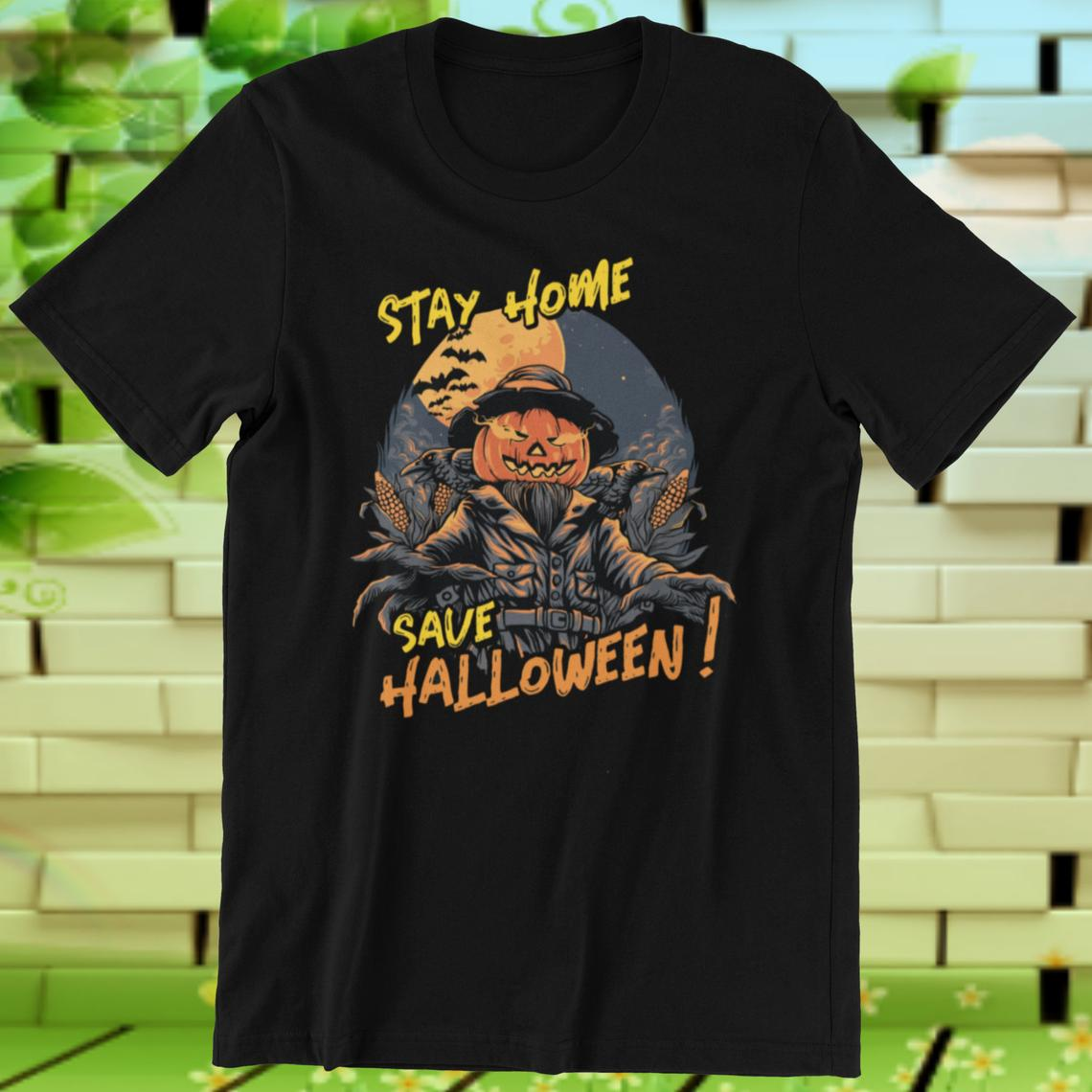 Halloween TShirt Stay Home Save Halloween Social Distancing Funny Quarantine Pumpkin Scarecrow Shirt