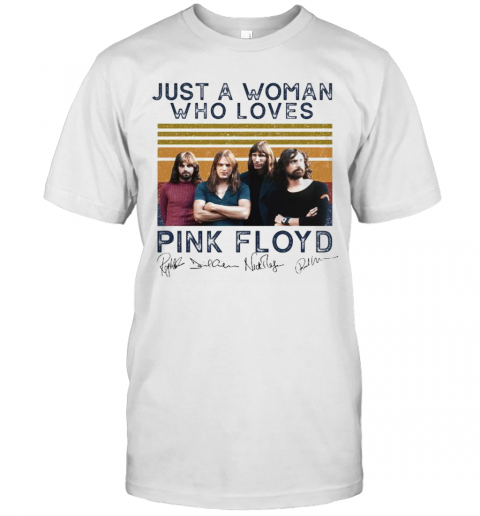 Just A Woman Who Loves Pink Floyd Vintage Retro Signatures T-Shirt Classic Men's T-shirt
