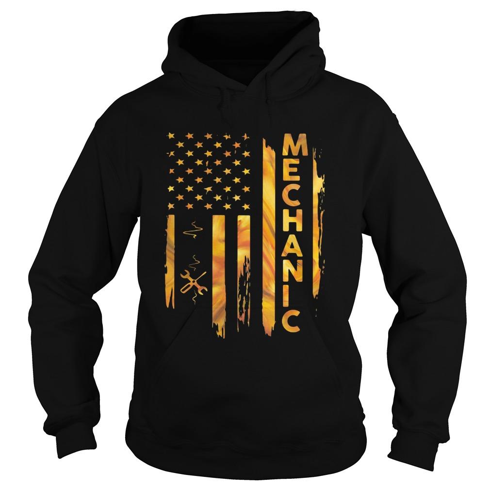 Mechanic American Flag  Hoodie