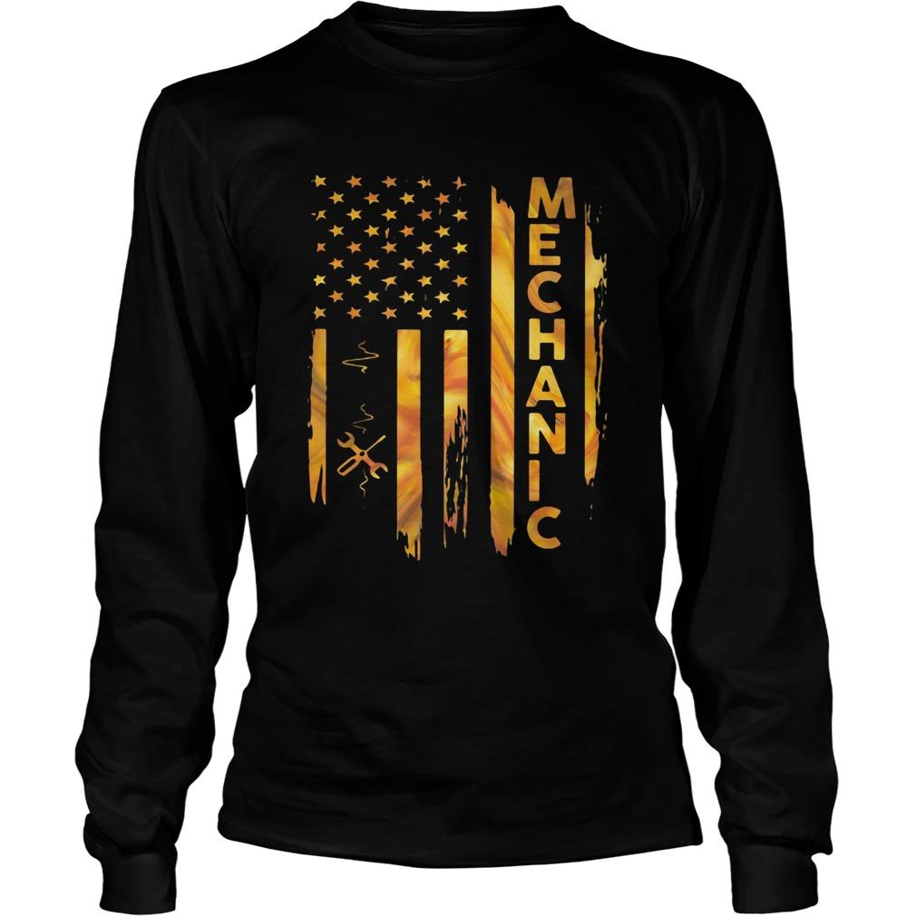 Mechanic American Flag  Long Sleeve