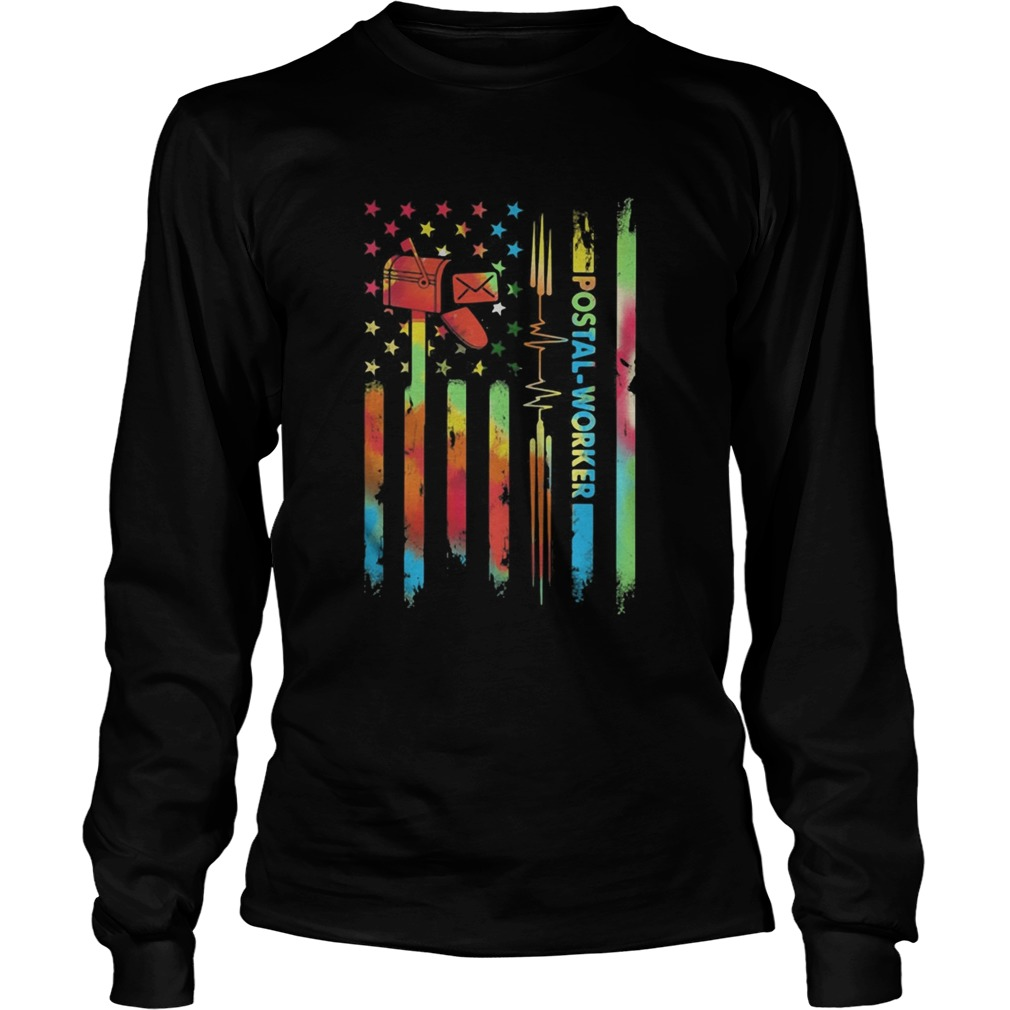 Postal worker hippie american flag independence day  Long Sleeve