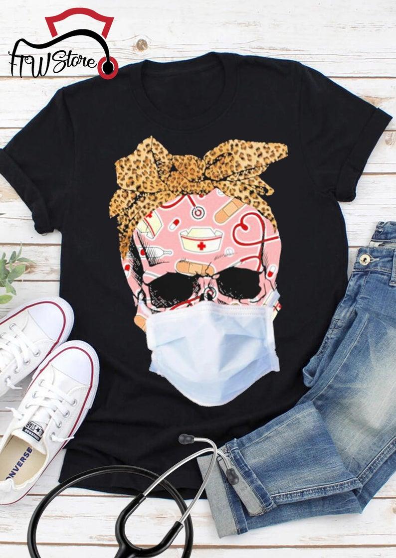 Skull Face Mask Nurse T-Shirt , Skull With Mask , Nurse TShirt , Patriotic Skull ,First Responder TShirt , Nurse Life , quarantine Tshirt