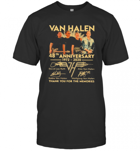 Van Halen Band 48Th Anniversary 1972 2020 Thank You For The Memories Signatures T-Shirt Classic Men's T-shirt