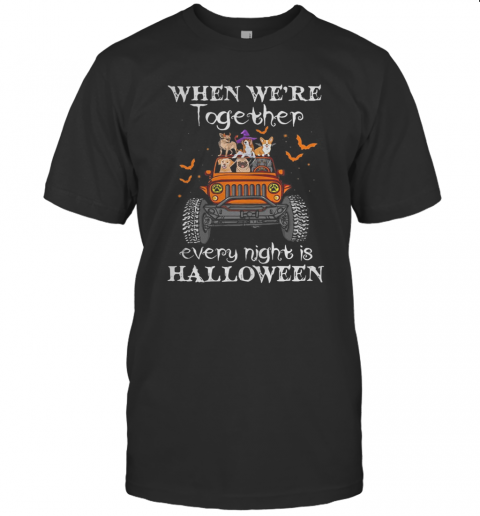 When We'Re Together Every Night Is Halloween Dogs And Elephant On Jeep T-Shirt Classic Men's T-shirt