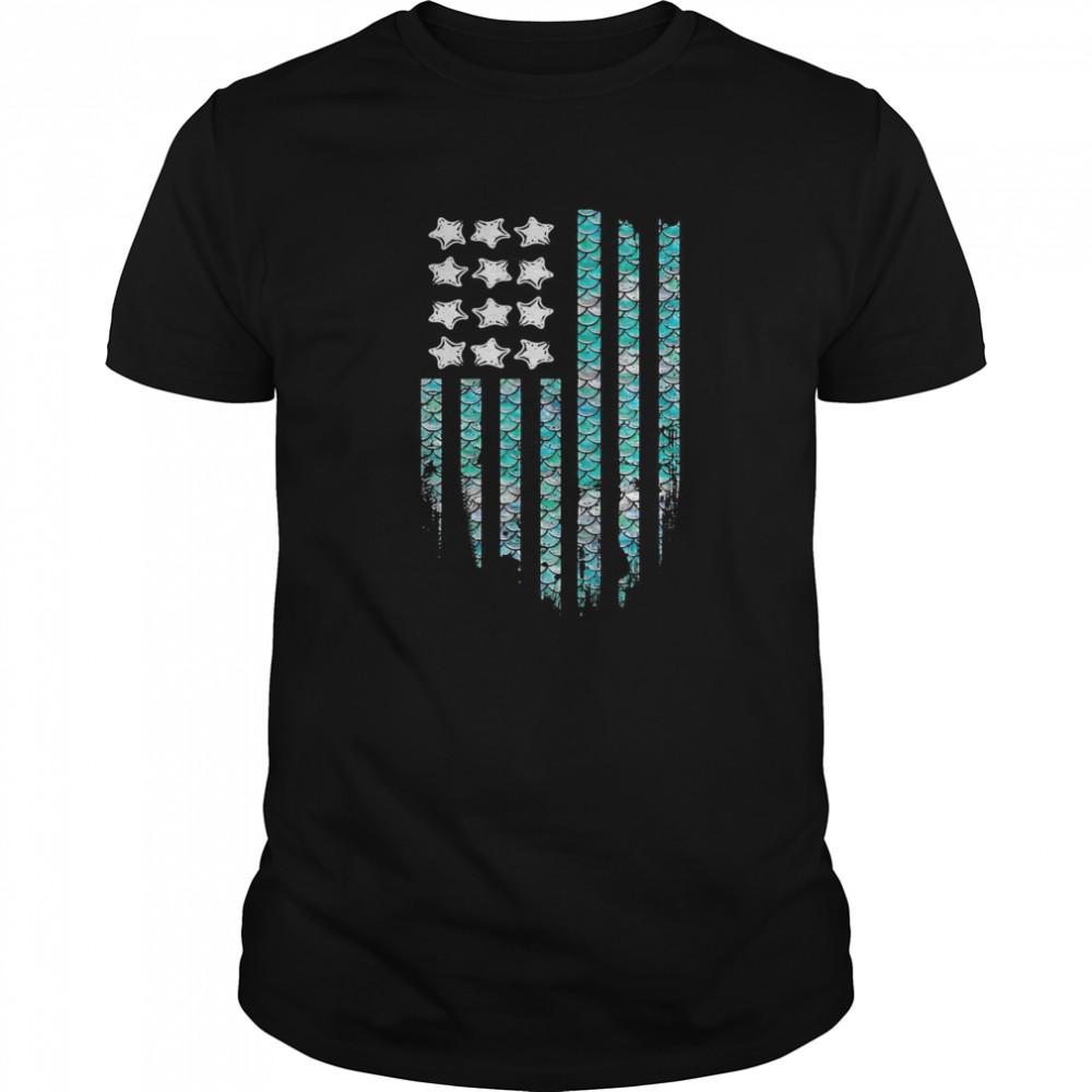 American Mermaid Flag  Classic Men's T-shirt