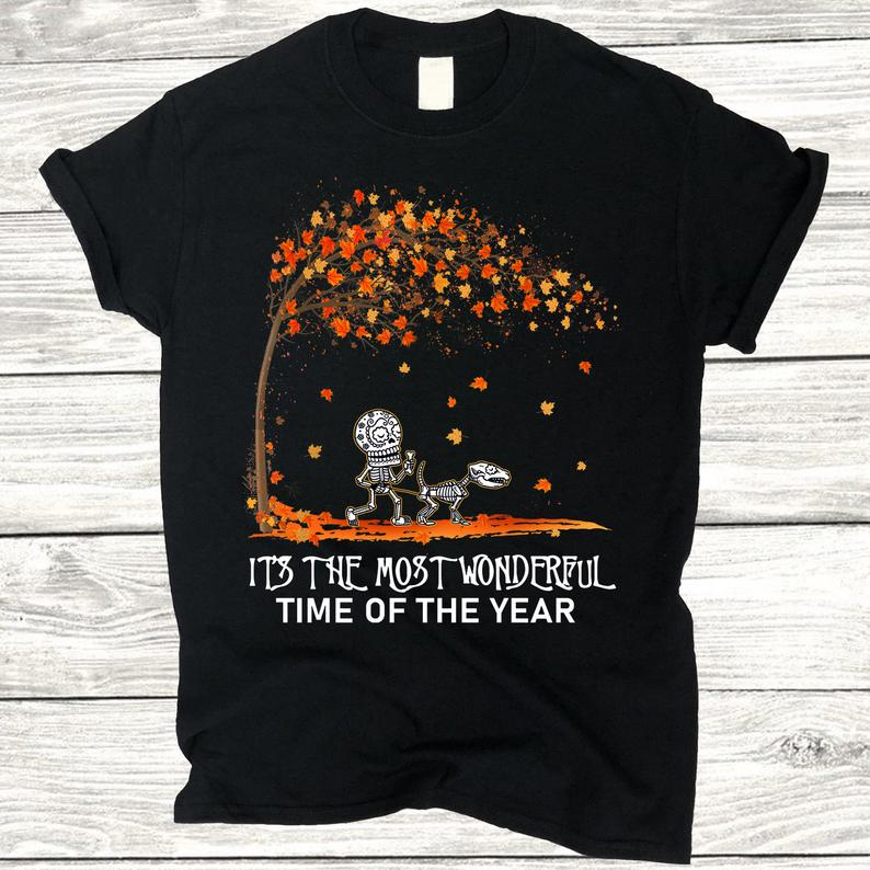 Autumn Halloween It's The Most Wonderful Time Of Year T-Shirt, Walking Skeleton With Dachshund Dog Maple Tree Fall Shirt, Gift For Dog Lover