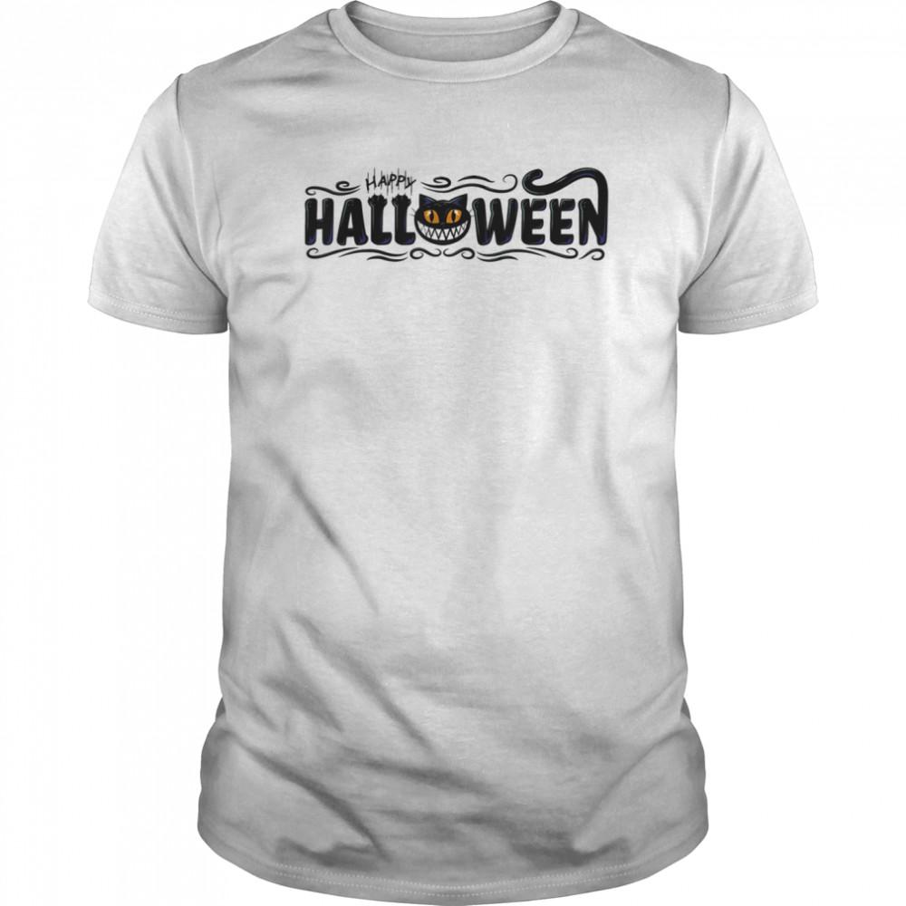 Black Cat Pumpkin Face  Classic Men's T-shirt
