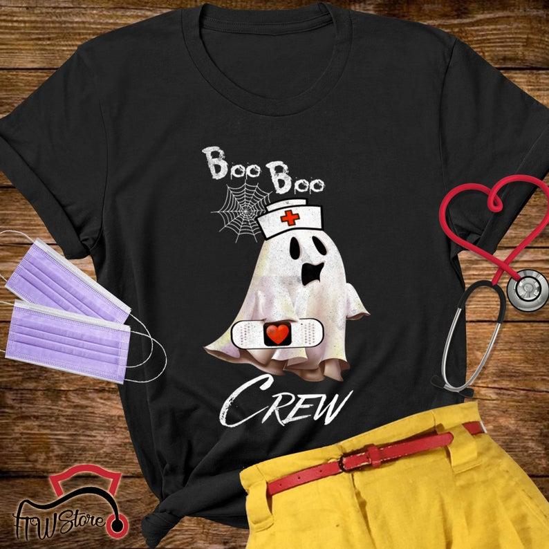 Boo Boo crew T-Shirt, Funny Halloween Gift, funny nurse shirt, Nurse Ghost, Nurse, Halloween, Ghost, Boo Boo shirt, Doctor,nurse sublimation